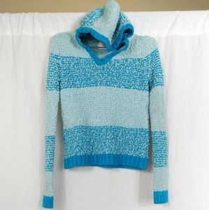 Justice Blue Striped Shimmer Hooded Sweater